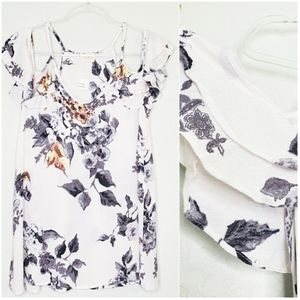 143 STORY | Cold Shoulder Ruffle Floral Blouse Top